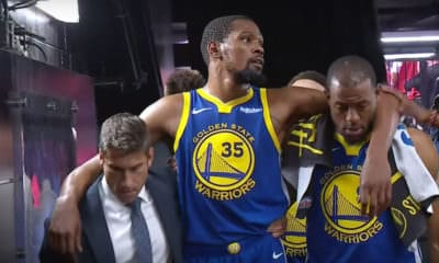 NBA Finals Game 5 -Kevin Durant post-achilles injury helped to the locker room by fellow teammate Andre Iguodala of the Golden State Warriors