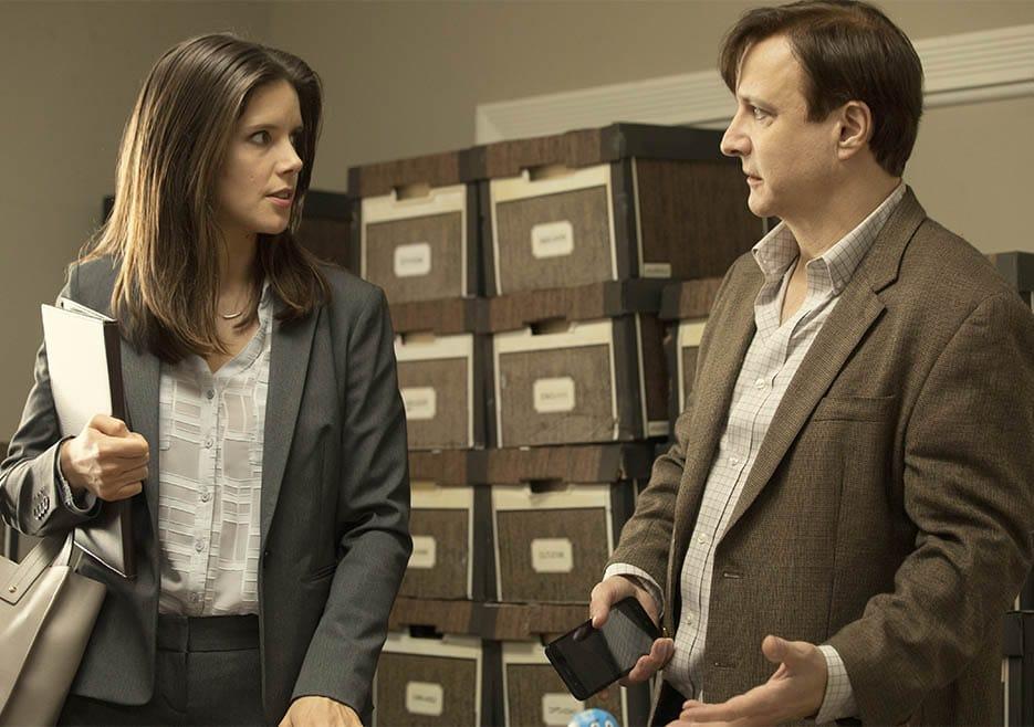 Sonya Cassidy as Liz Dudley, Bronson Pinchot as Dr. Kimbrough- Lodge 49 - Season 2 - Photo Credit: Jackson Lee Davis/AMC