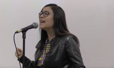 "Nashma Amir sings an live English cover of ""Lapis Lazuli"" by Eir Aoi during Anime NYC 2019's SACRA MUSIC Panel. - Photo Credit: Nir Regev"