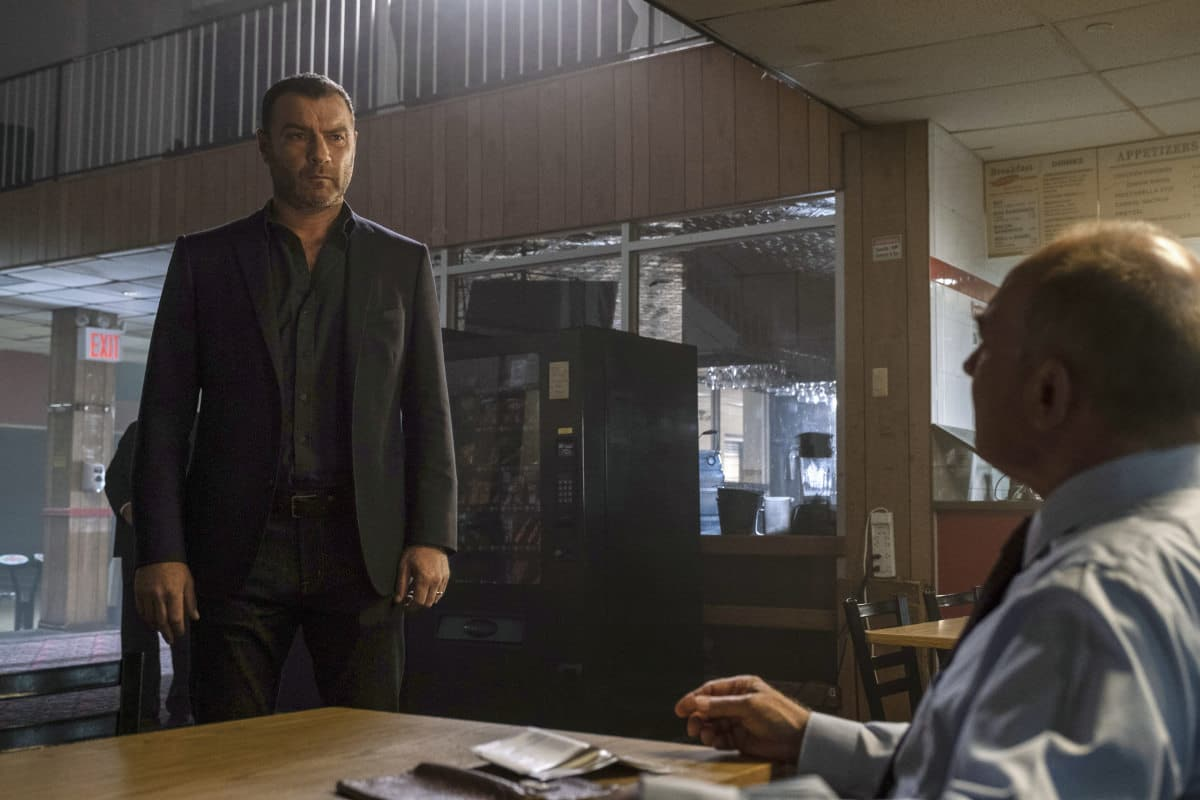 "Ray Donovan Season 7 Episode 4 - (L-R): Liev Schreiber as Ray Donovan and Zach Grenier as Mayor Feratti in RAY DONOVAN, ""Hispies"". Photo Credit: Jeff Neumann/SHOWTIME."